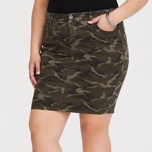 Torrid Camo Denim Midi Skirt